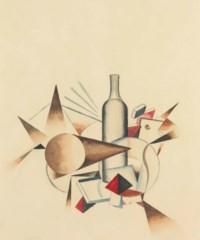 Nature morte géométrique à la bouteille