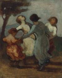 Une ronde d'enfants (Enfants dansant en rond—Ronde de jeunes filles)