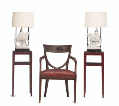 A PAIR OF RED PAINTED BEDSIDE TABLES WITH FIXED BY WILLIAM HAINES