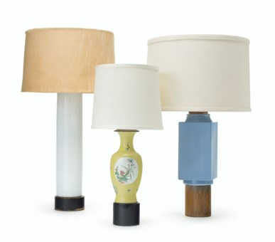 THREE CHINESE PORCELAIN TABLE LAMPS BY WILLIAM HAINES