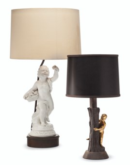 TWO PUTTO FORM LAMPS BY WILLIAM HAINES