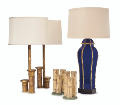 THREE FAUX BAMBOO TABLE LAMPS BY WILLIAM HAINES