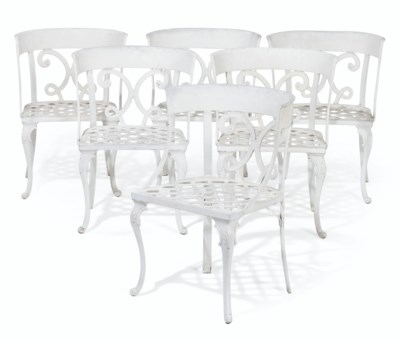 A SET OF SIX WHITE PAINTED ALUMINUM CHAIRS SUPPLIED BY WILLIAM HAINES