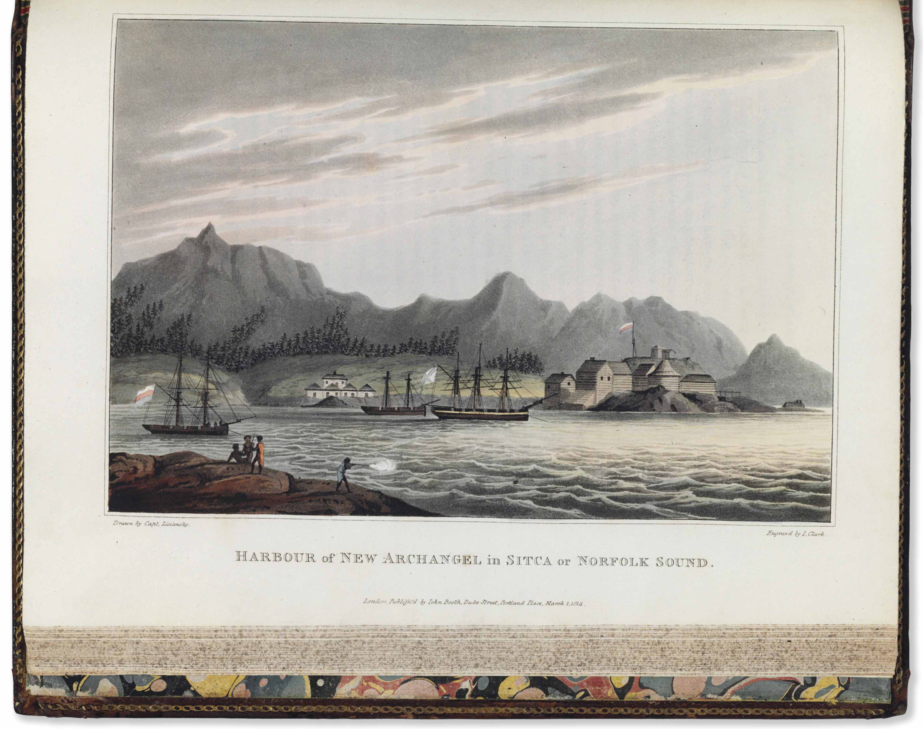 LISIANSKII, Iurii Fedorovich (1773-1837). A Voyage Round the World, in the years 1803, 4, 5, & 6; performed, by order of His Imperial Majesty Alexander the First, Emperor of Russia, in the Ship Neva. London: S. Hamilton for John Booth and Longman, Hurst, Rees, Orme, and Brown, 1814.