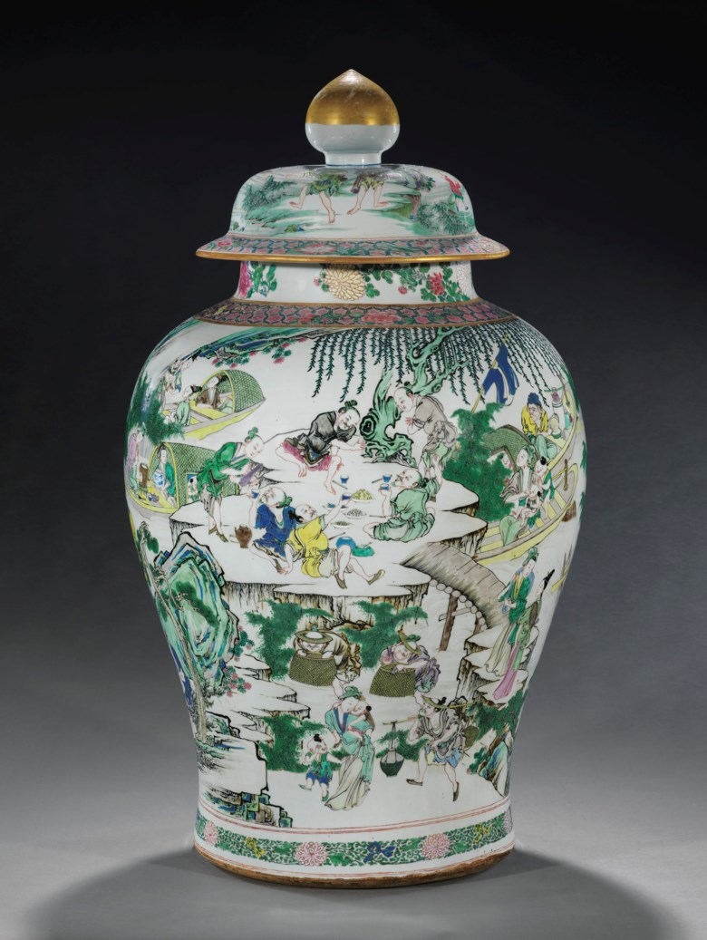 A massive and superbly-decorated famille rose baluster jar and cover, Yongzheng period (1723-1735). 31⅞  in (81  cm) high. Sold for $137,500 on 14 September 2017  at Christie's in New York