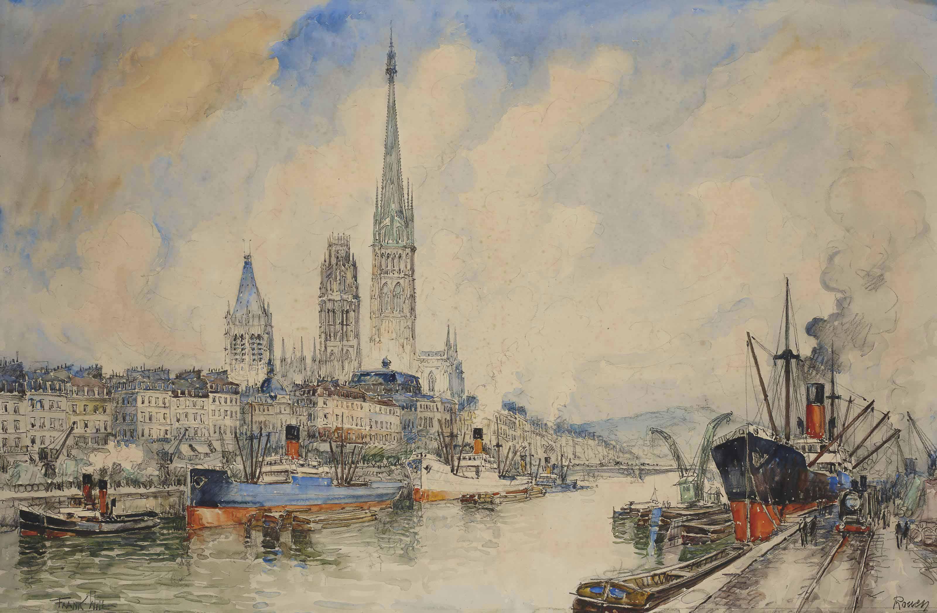 Vue des quais à Rouen, la cathédrale Notre-Dame à l'arrière-plan