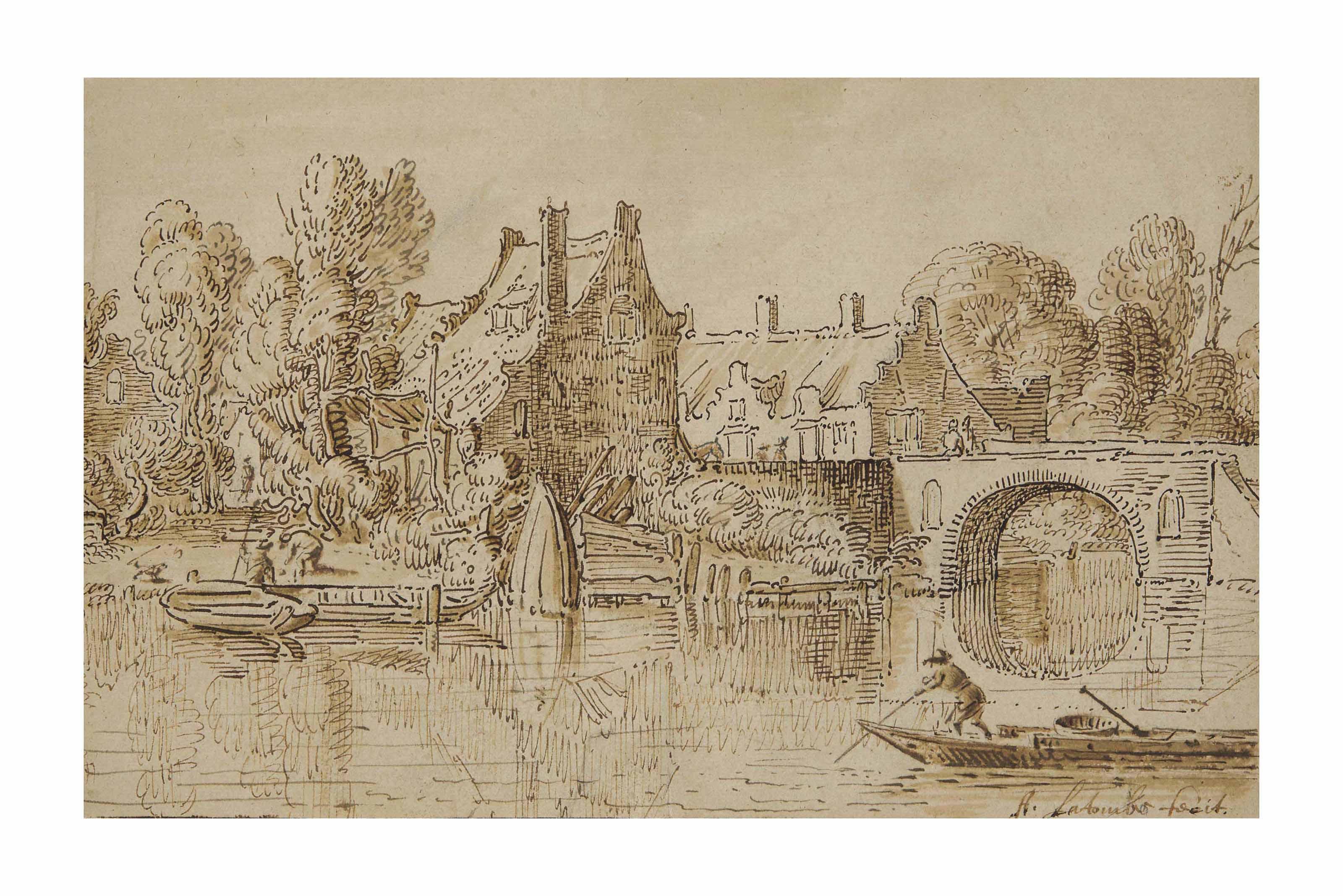 Barques sur une rivière, des habitations derrière, un pont à l'arrière-plan