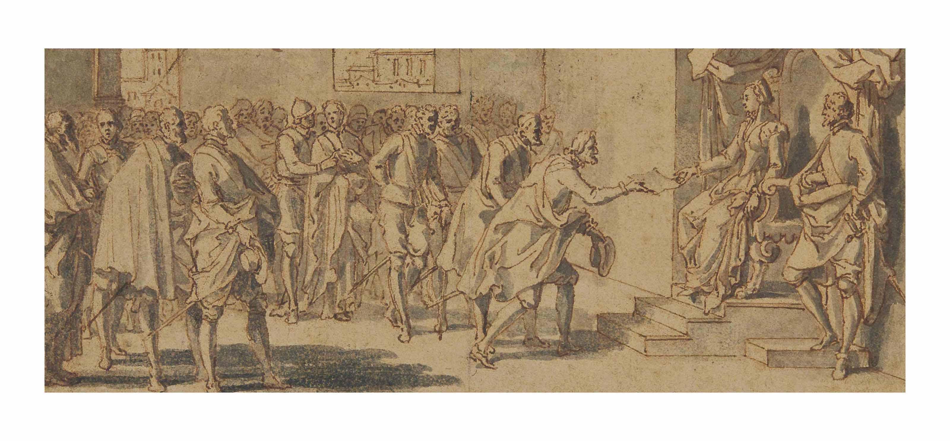 Les confédérés des états de Hollande présentant un écrit à Marguerite d'Autriche, gouvernante des Pays-Bas sous Philippe II, roi d'Espagne