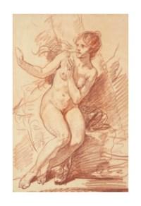 Femme nue assise effrayée, regardant vers la gauche