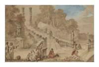 La Cascade des jardins de la villa Aldobrandini à Frascati avec personnages
