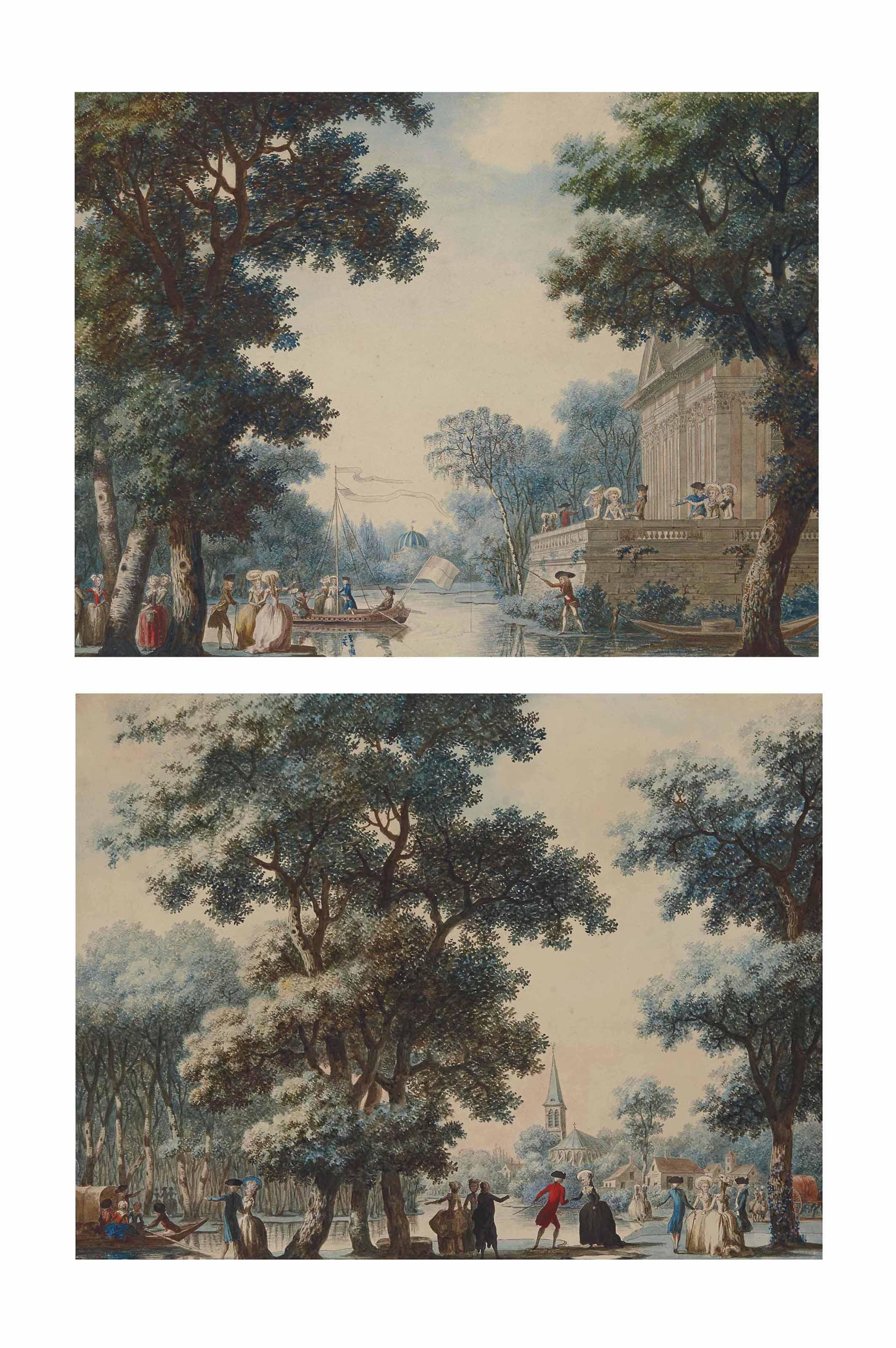 Promeneurs aux abords d'un plan d'eau dans un jardin arboré, la terrasse d'un château sur la droite ; et Promeneurs discutant devant un plan d'eau à l'entrée d'un village
