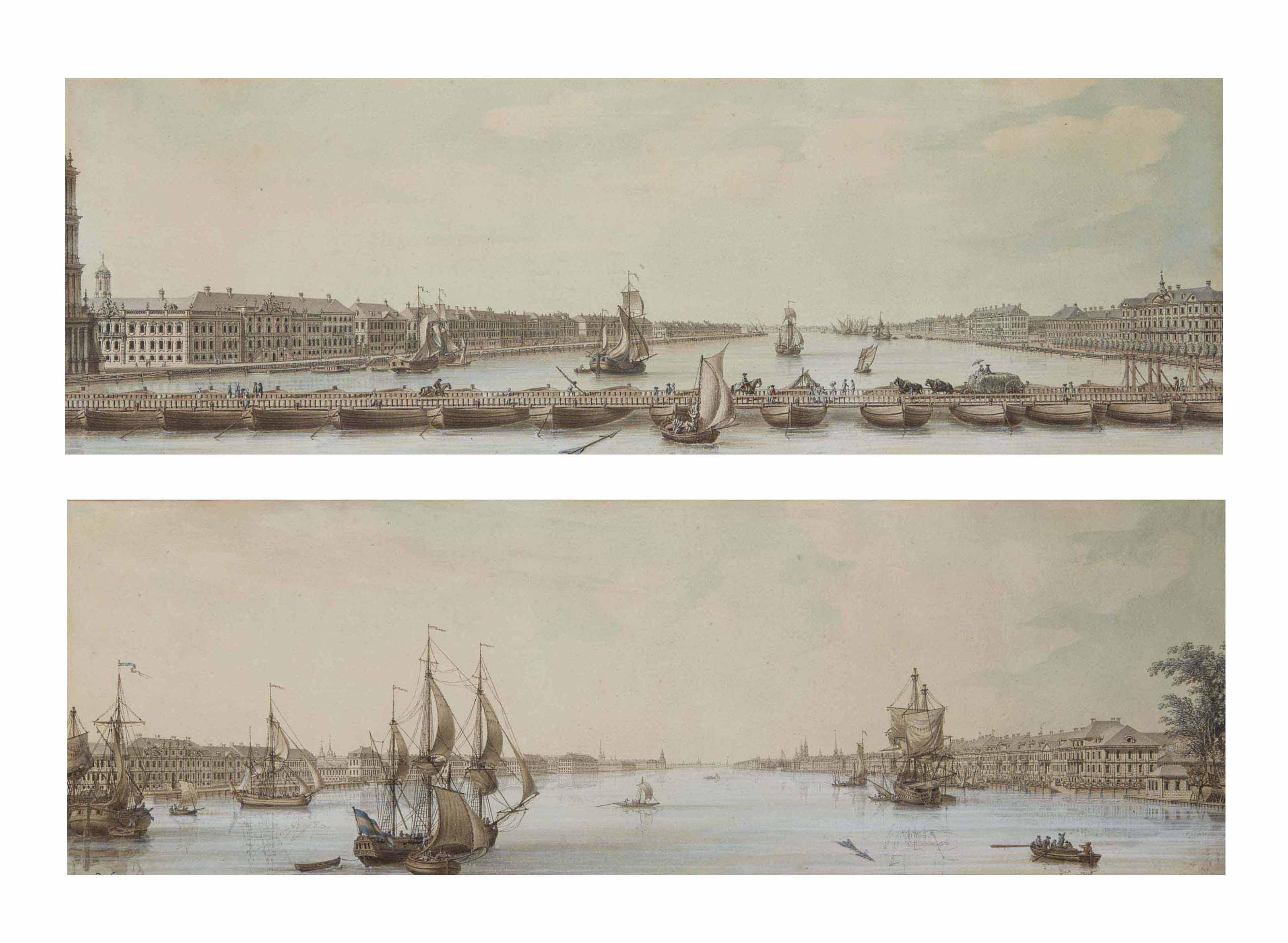 Pont flottant sur la Néva à Saint-Pétersbourg ; et Voiliers sur la Néva à Saint-Pétersbourg