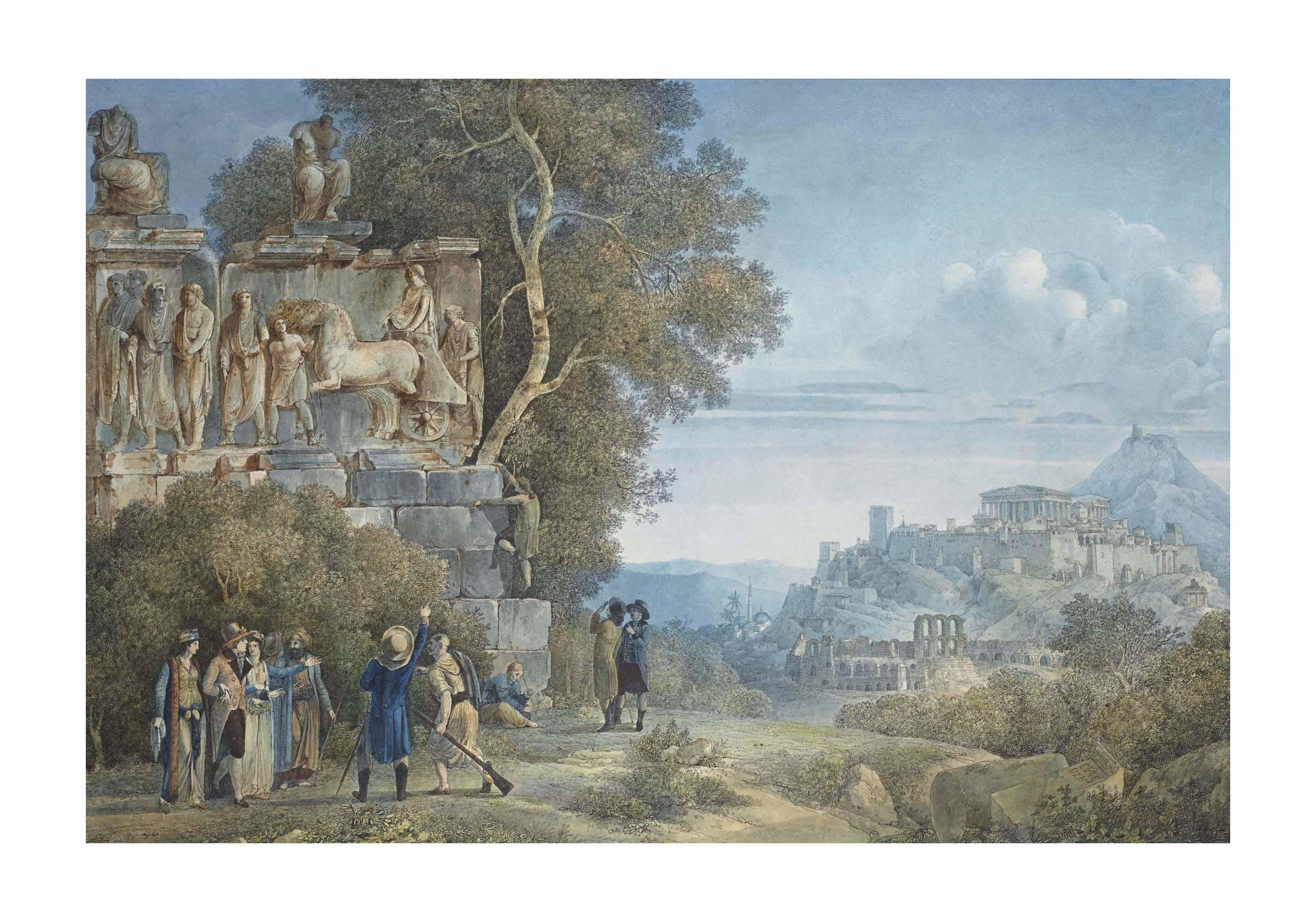 Archéologues examinant un bas-relief aux abords de la ville d'Athènes
