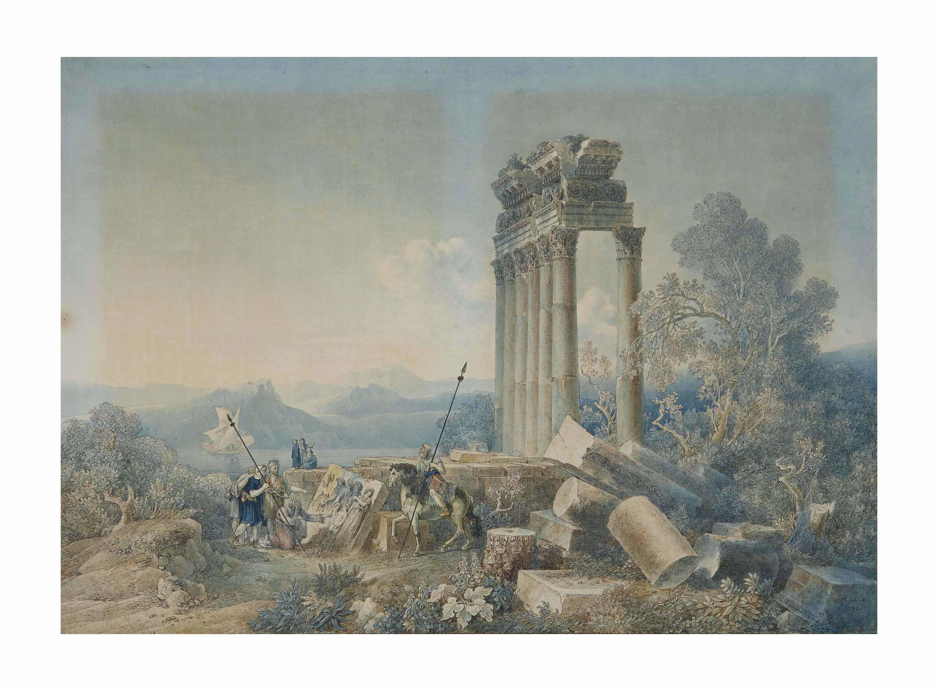 Vue imaginaire d'un temple en ruine