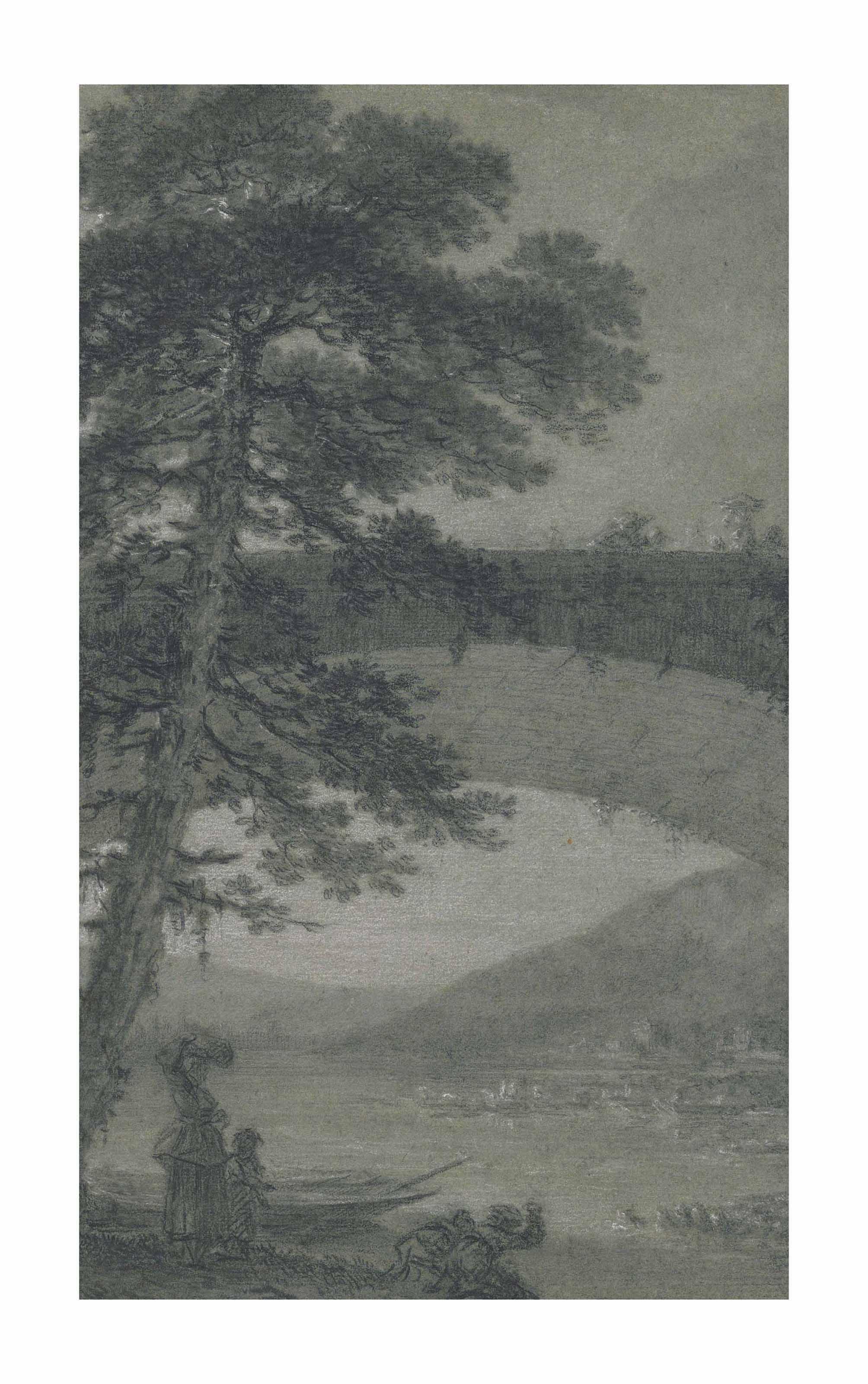 Lavandières et barque sous un pont