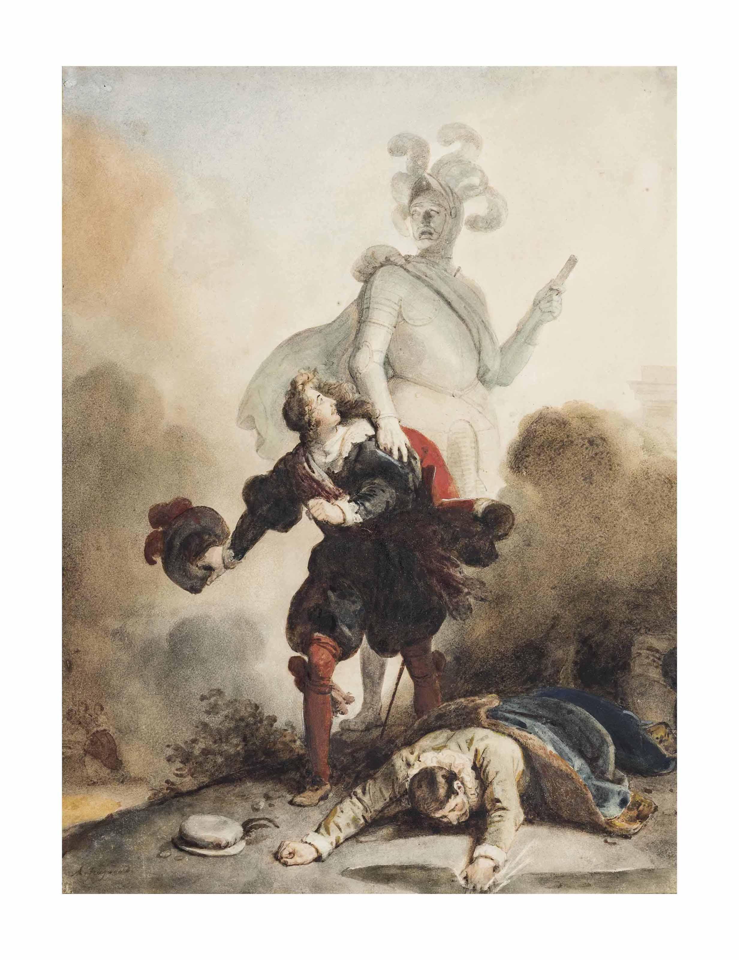 Don Juan et Leporello rencontrent la statue du Commandeur au cimetière