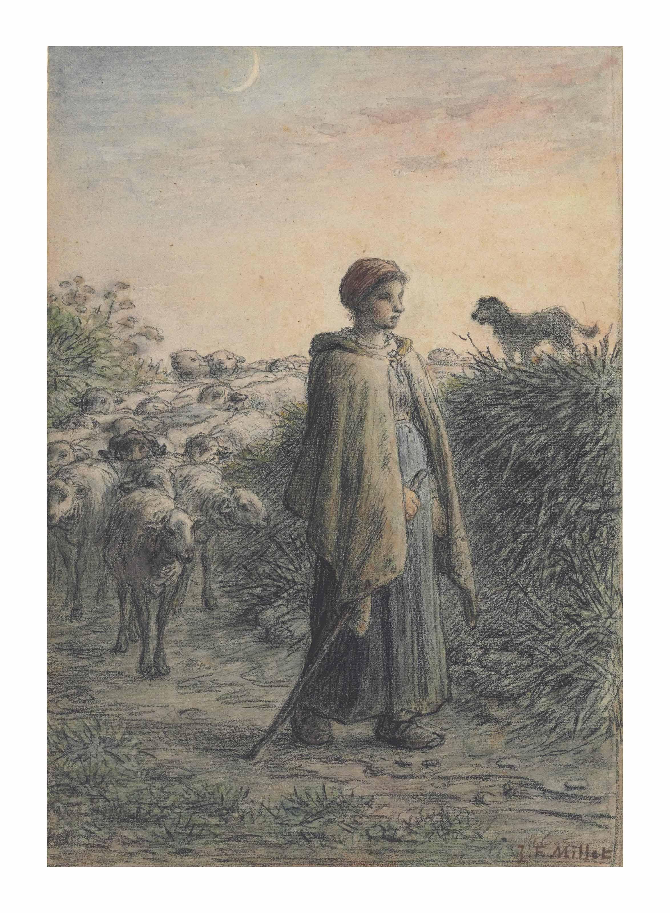 Bergère et son troupeau à la nuit tombée