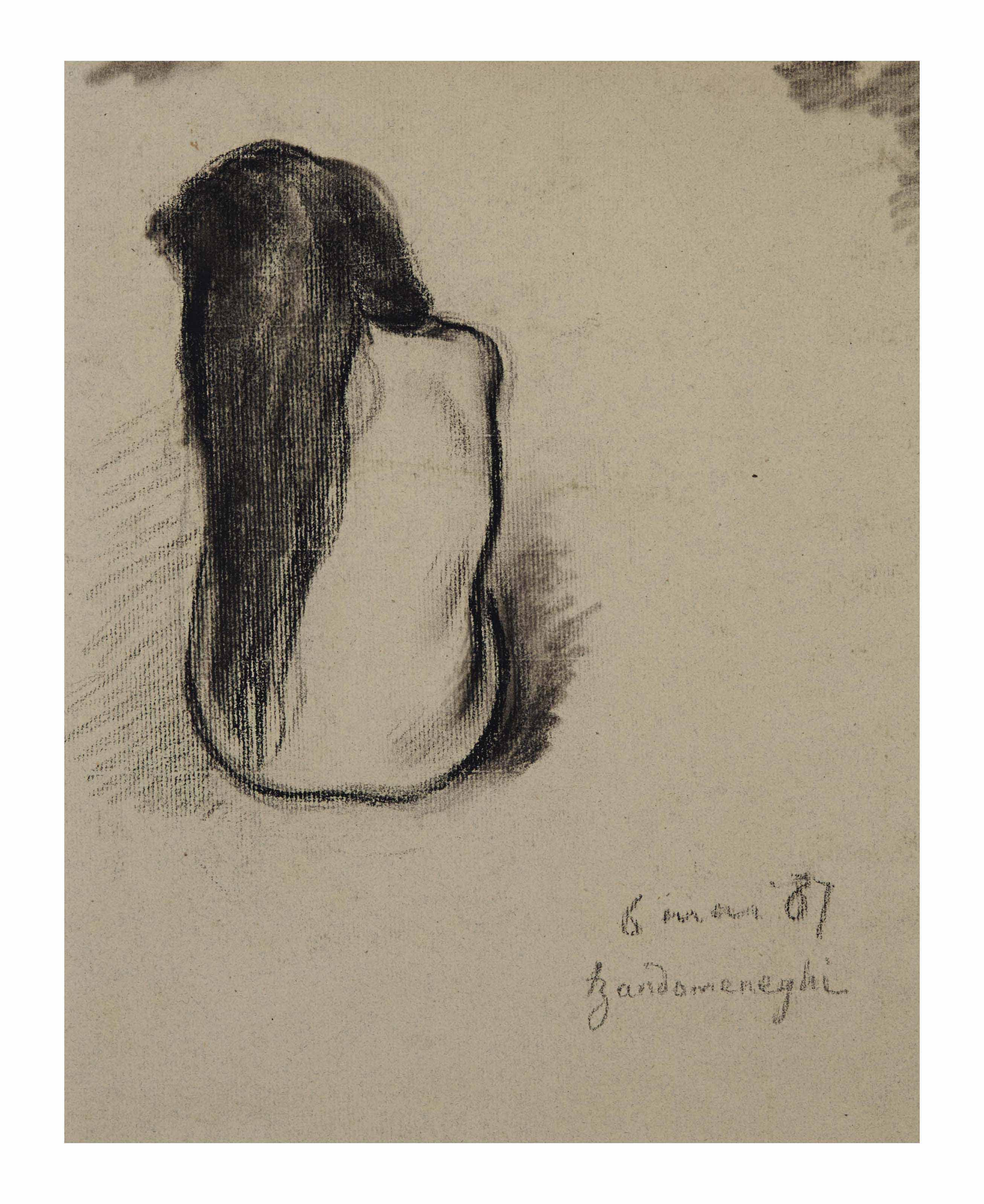 Deux études d'une jeune fille nue aux cheveux longs, vue de dos