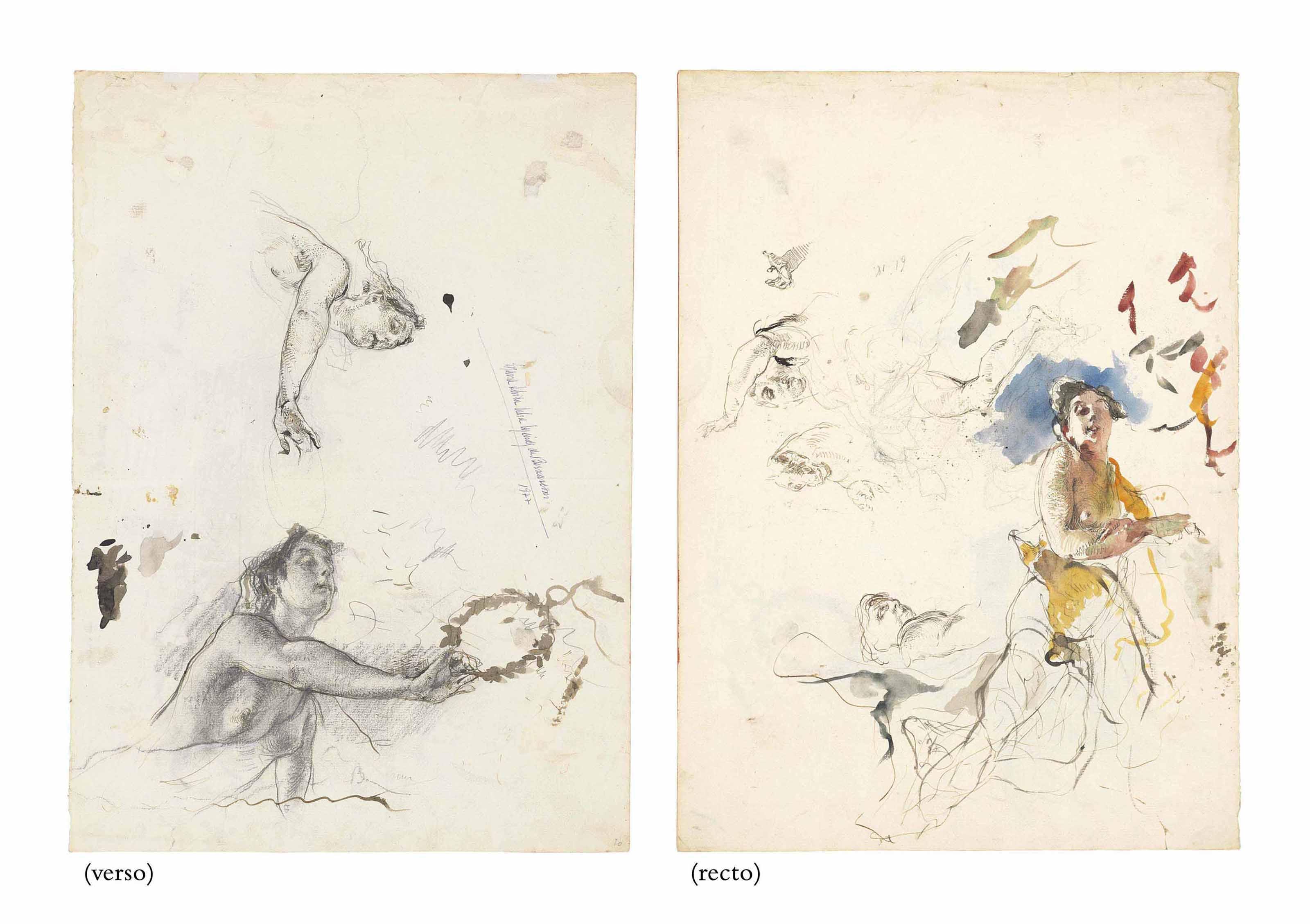 Études de femmes drapées et de la tête d'un cheval (recto) ; Deux études d'une femme tenant une couronne de laurier (verso)