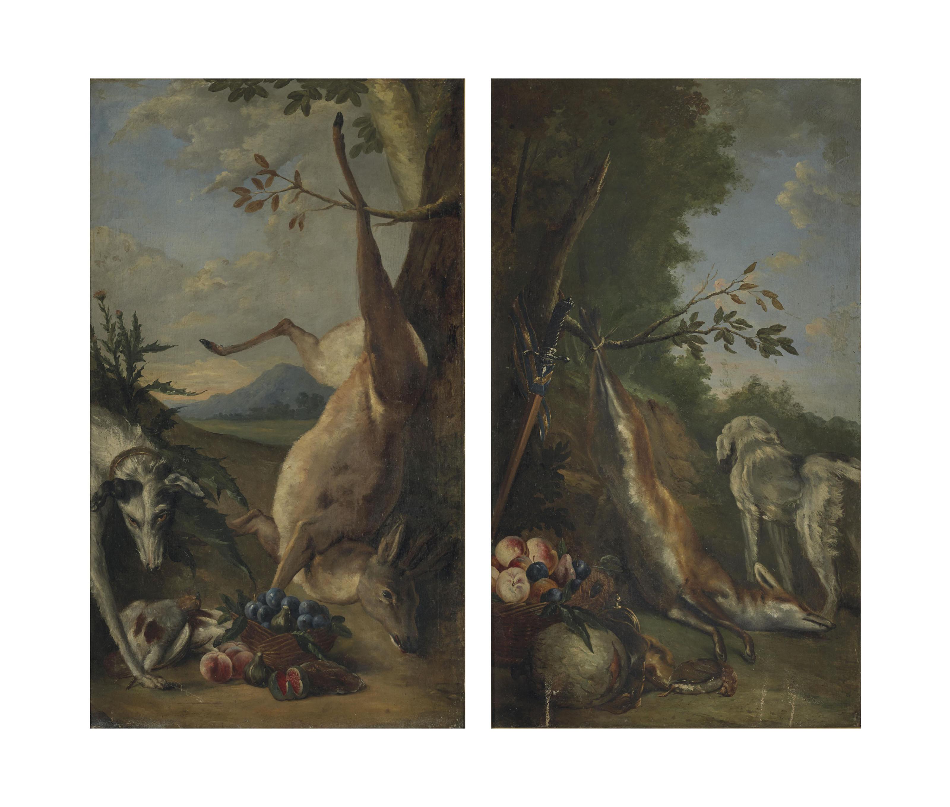Nature morte de gibier, fruits et chien