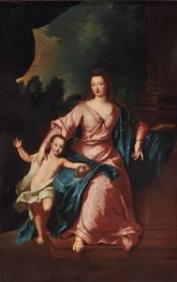 Portrait de Madame Françoise-Marie de Bourbon (1677-1749) avec son fils Louis (1703-1752), futur duc d'Orléans