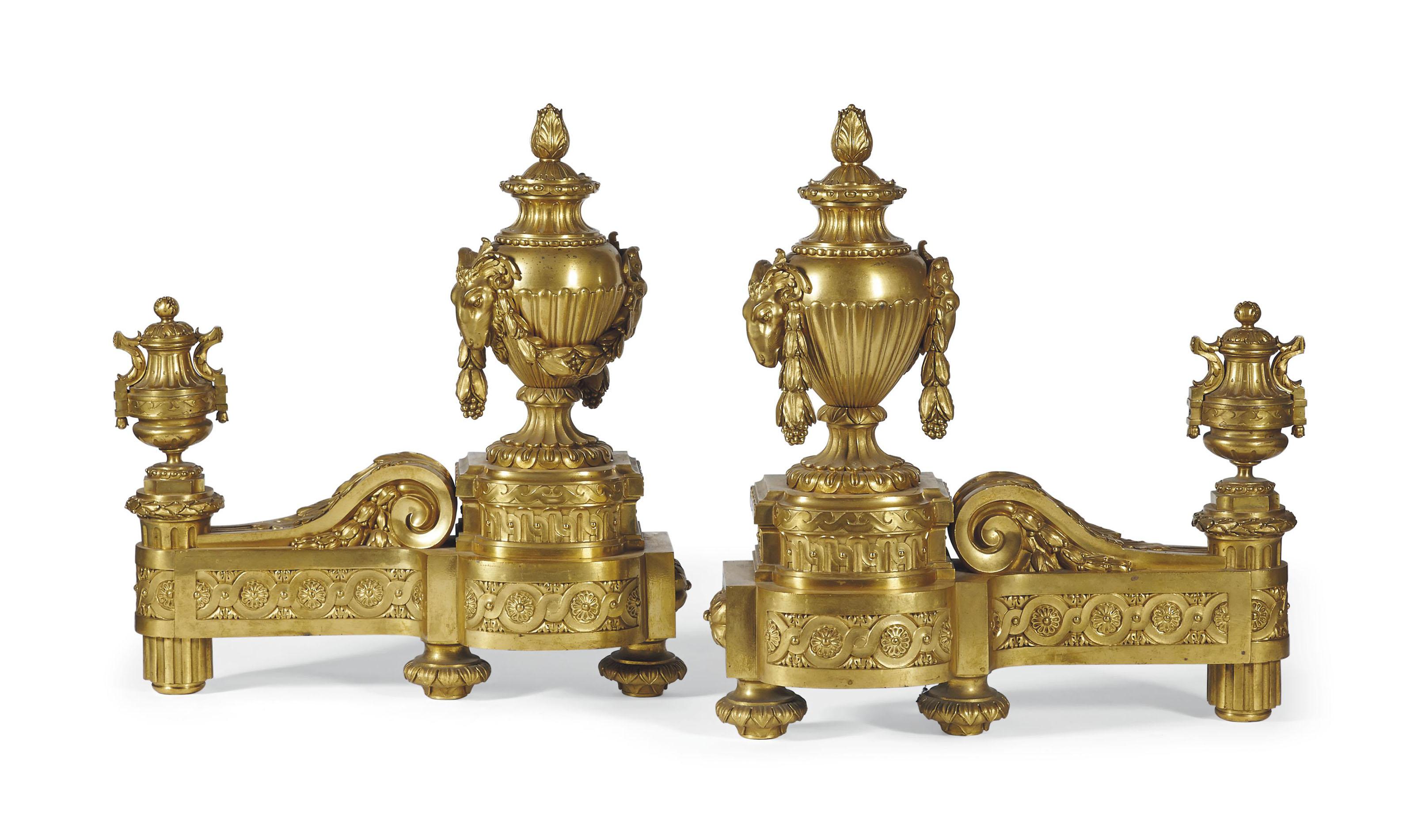 paire de chenets monumentaux de style louis xvi signature des freres delisle d 39 apres un. Black Bedroom Furniture Sets. Home Design Ideas