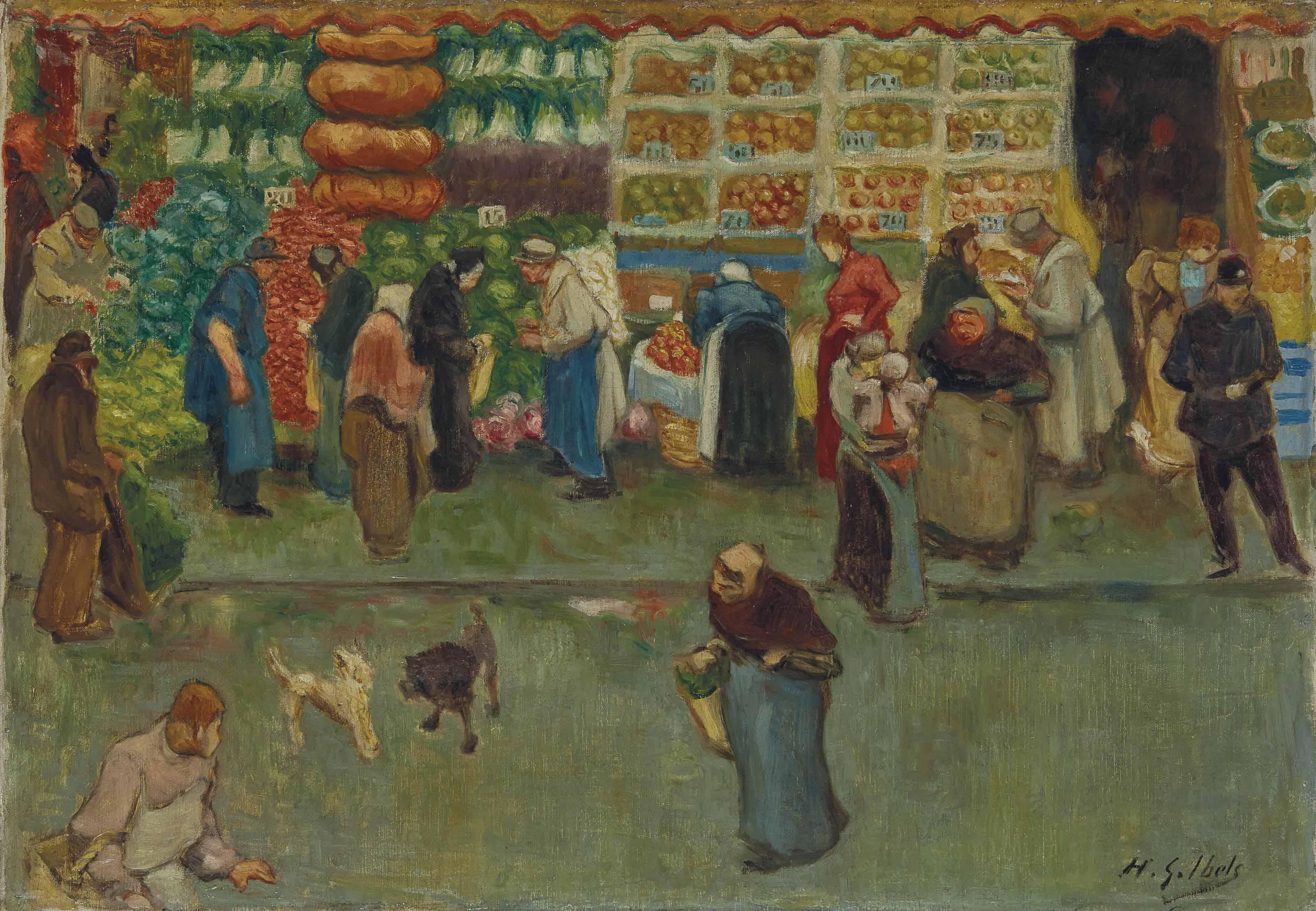 Scène de marché à Paris