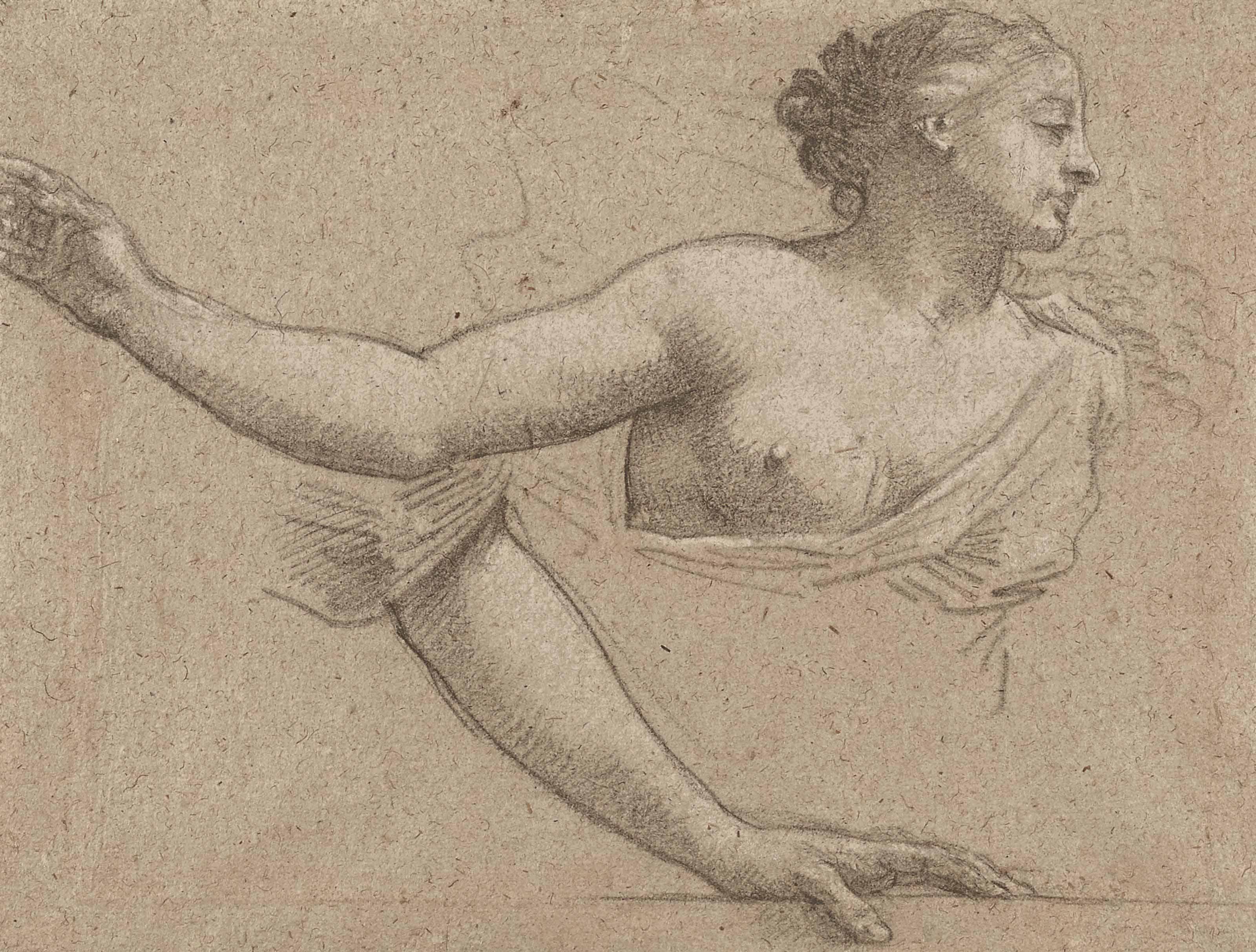 Etude de femme en buste, main droite allongée et étude subsidiaire d'un bras gauche