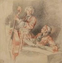 Homme jouant de la contrebasse accompagné d'un femme tenant une partition: le duo