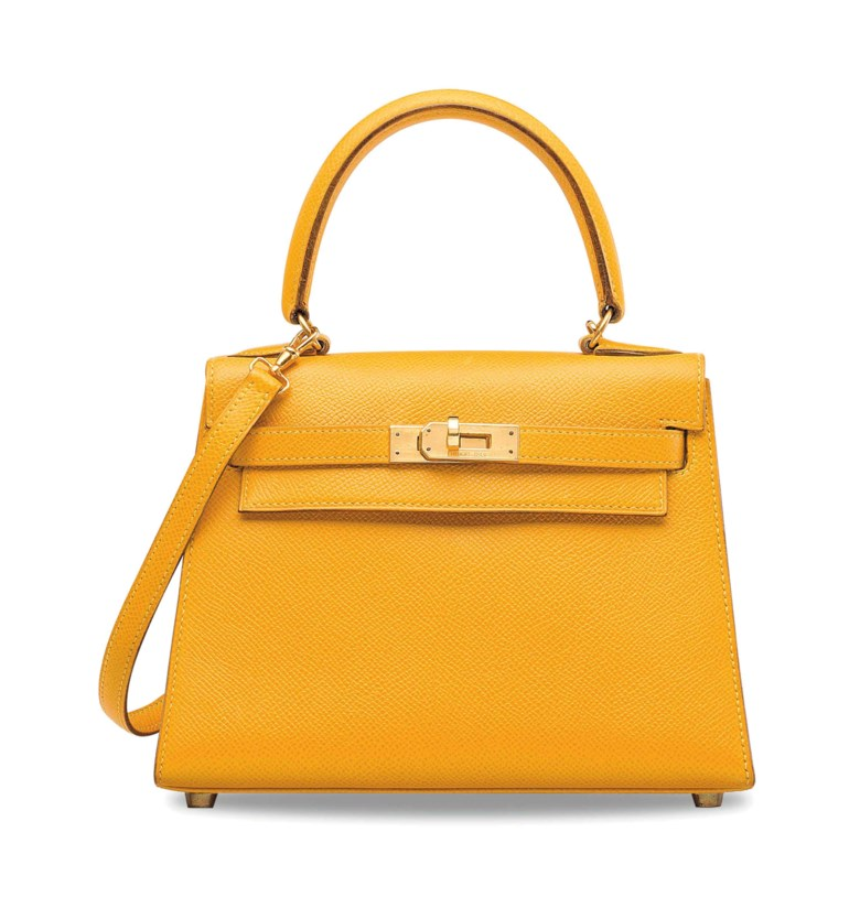A jaune Courchevel Sellier  Mini Kelly 20 with gold hardware, Hermès, 1991. Length 20 cm, height 14 cm. Sold for €40,000 on 12 December 2017 at Christie's in Paris