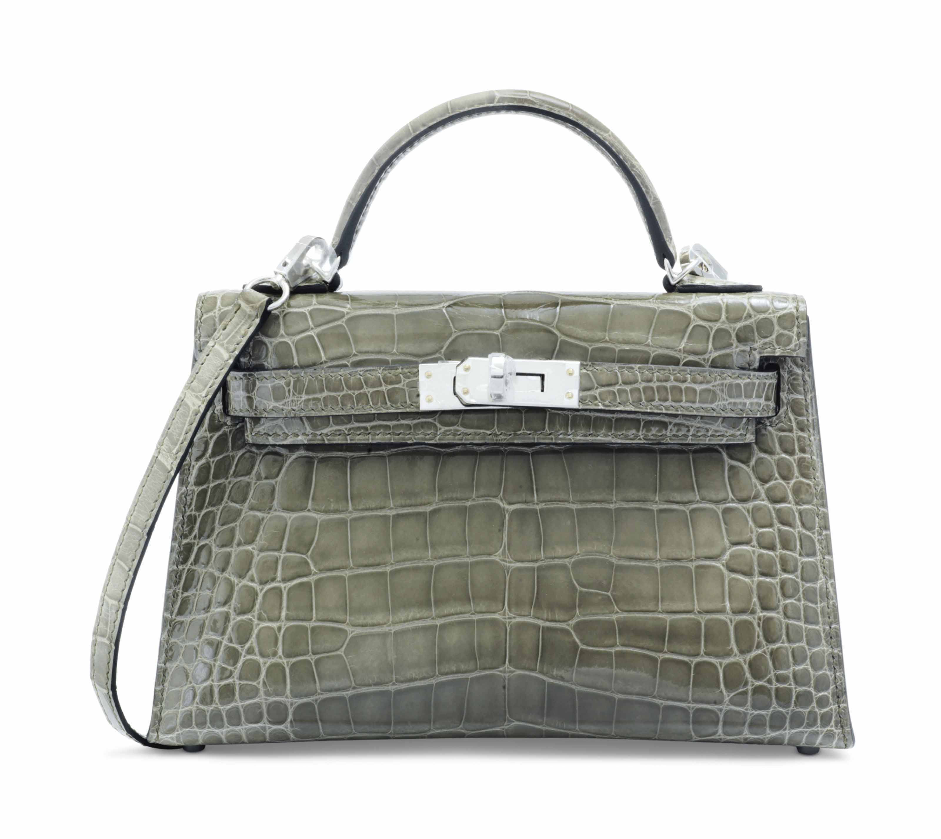 3c0a61df83 SAC MINI KELLY SELLIER 20 II EN ALLIGATOR LISSE GRIS TOURTERELLE, GARNITURE  EN MÉTAL ARGENTÉ PALLADIÉ