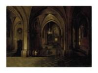 Vue de nuit d'une église gothique