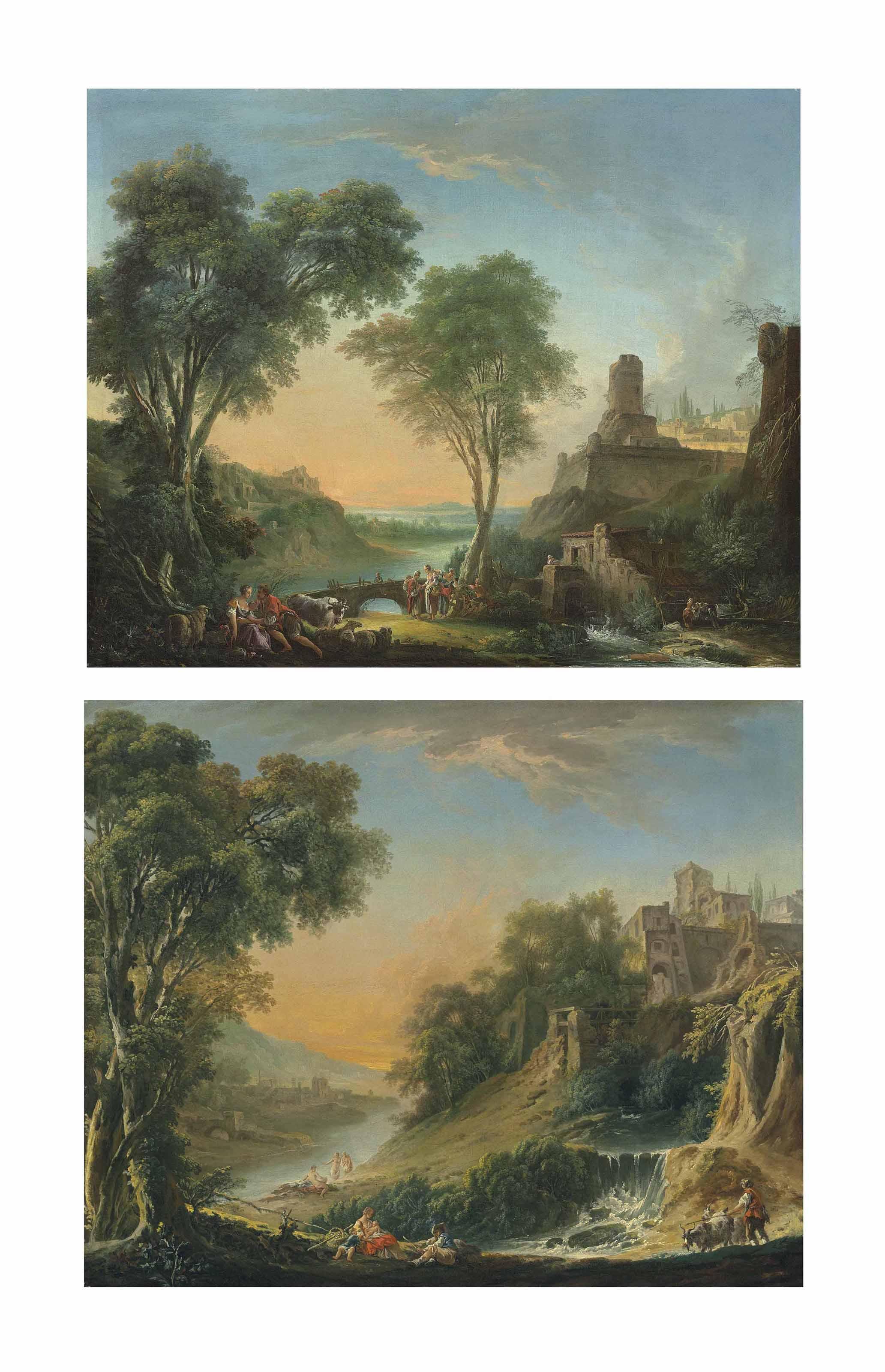 Un paysage pastoral au moulin (1) ; et Un paysage pastoral à la cascade (2)