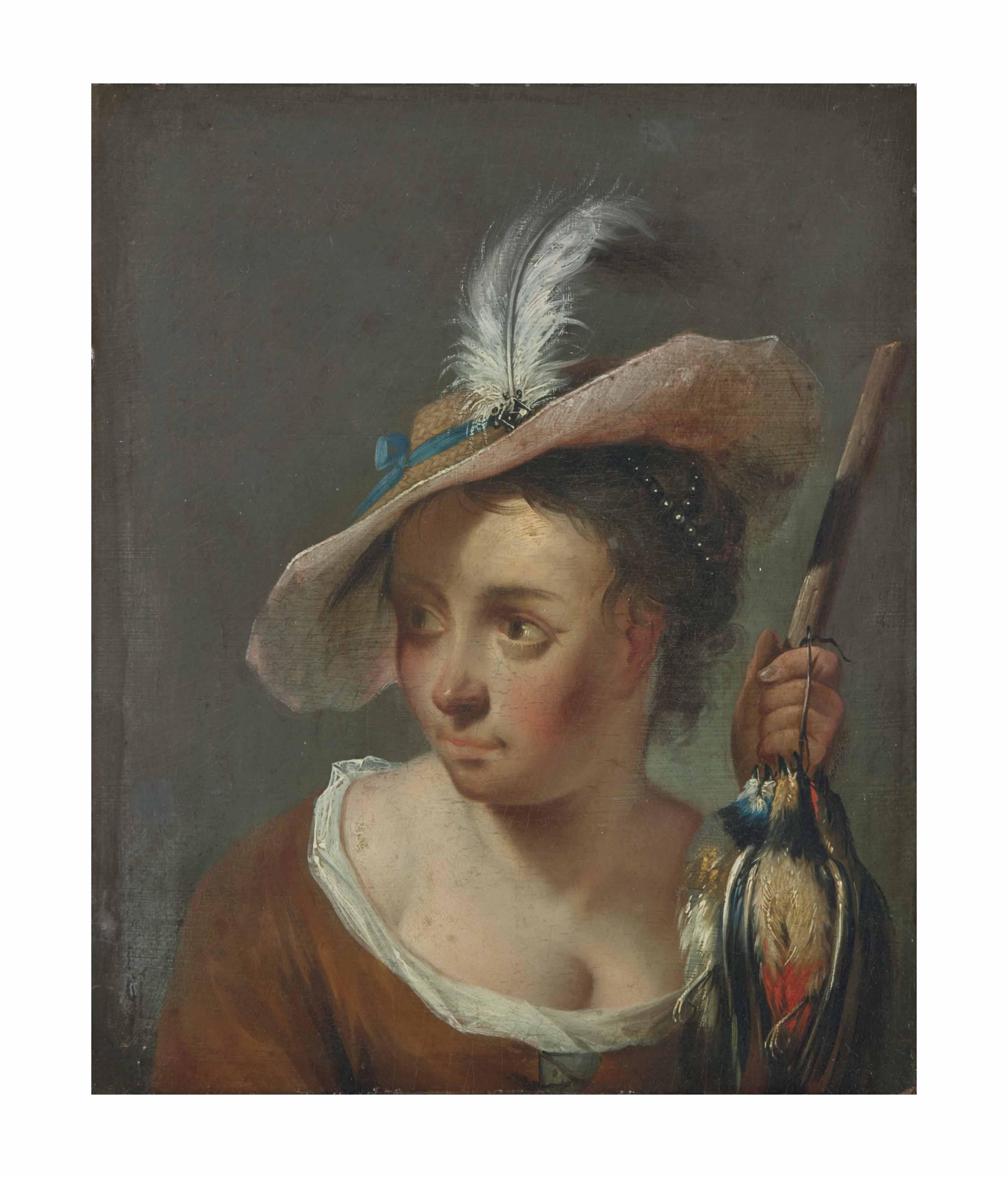 Une femme tenant une perdrix