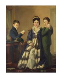 Portrait de Madame Le Hideux et de ses deux fils Paul et Victor