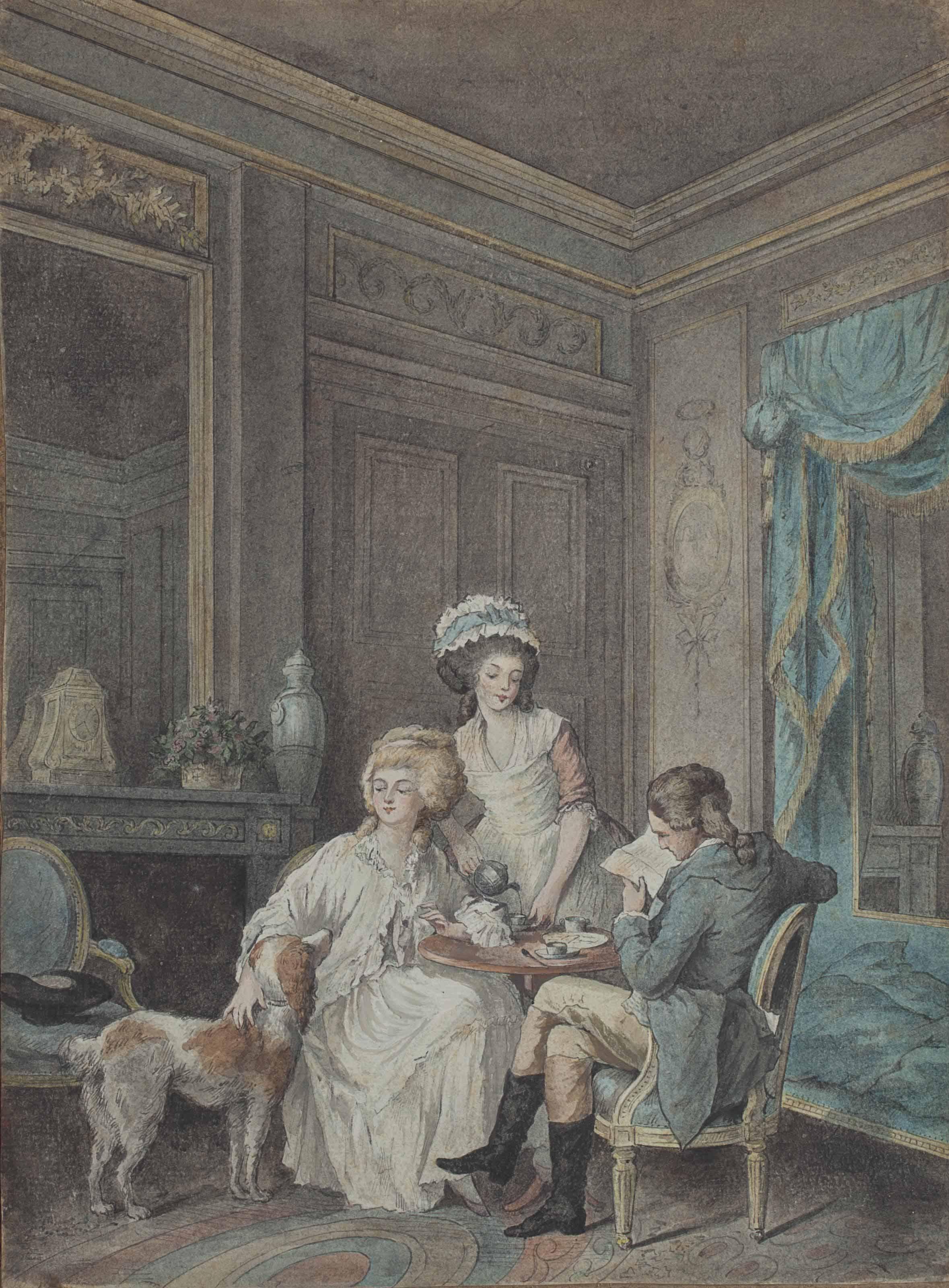 Couple assis dans un salon à l'heure du thé