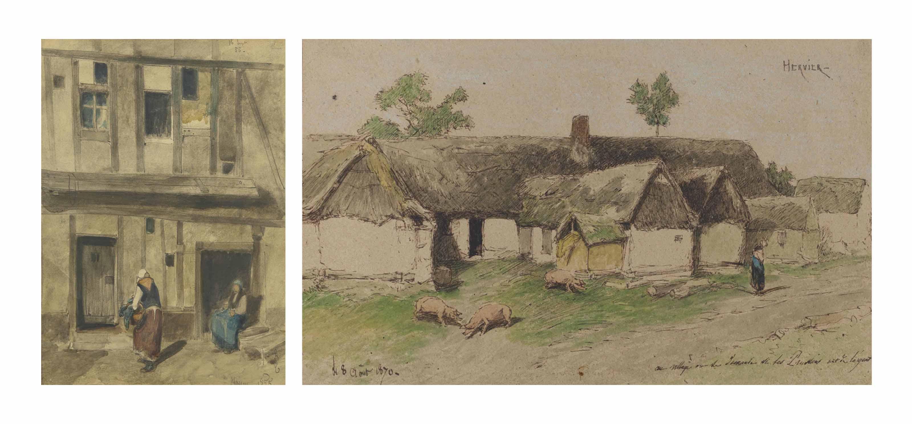 Deux femmes dans une cour de ferme; et Cochons dans une cour de ferme