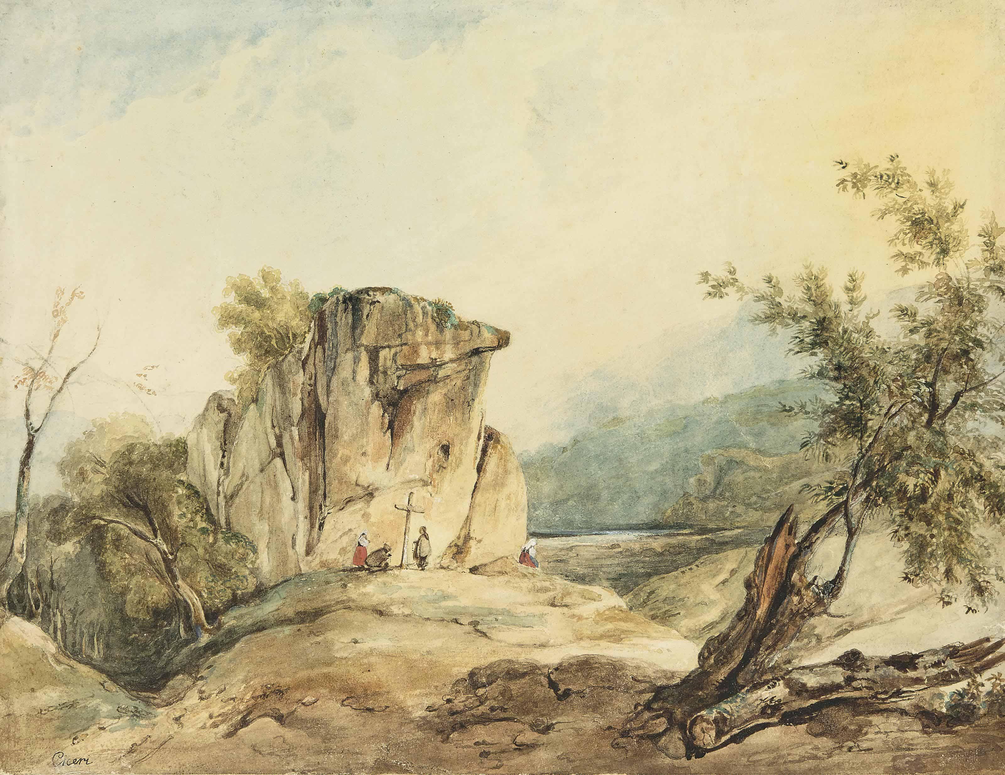 Calvaire dans un paysage montagneux