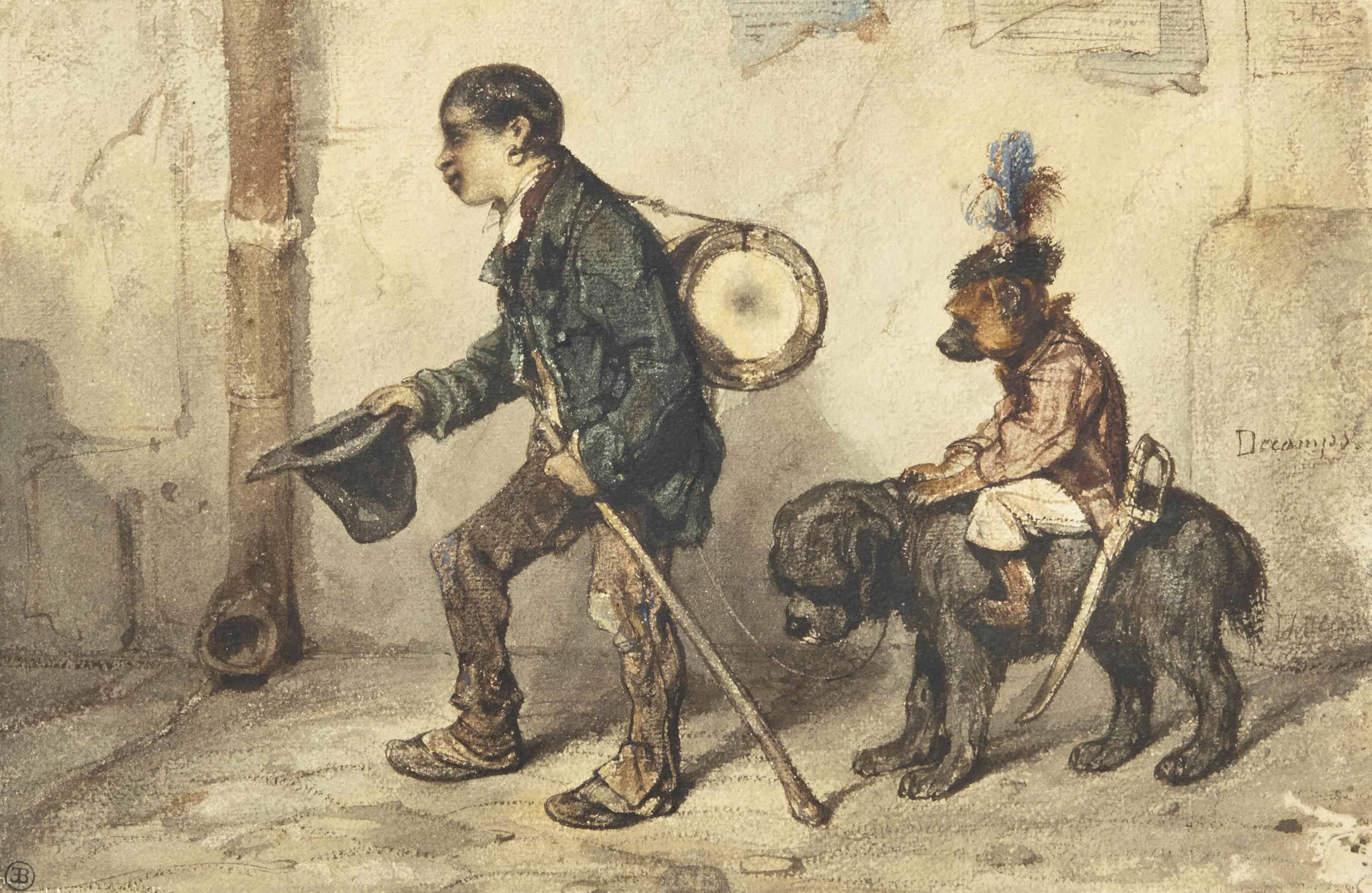 Jeune musicien accompagné de son chien et d'un singe