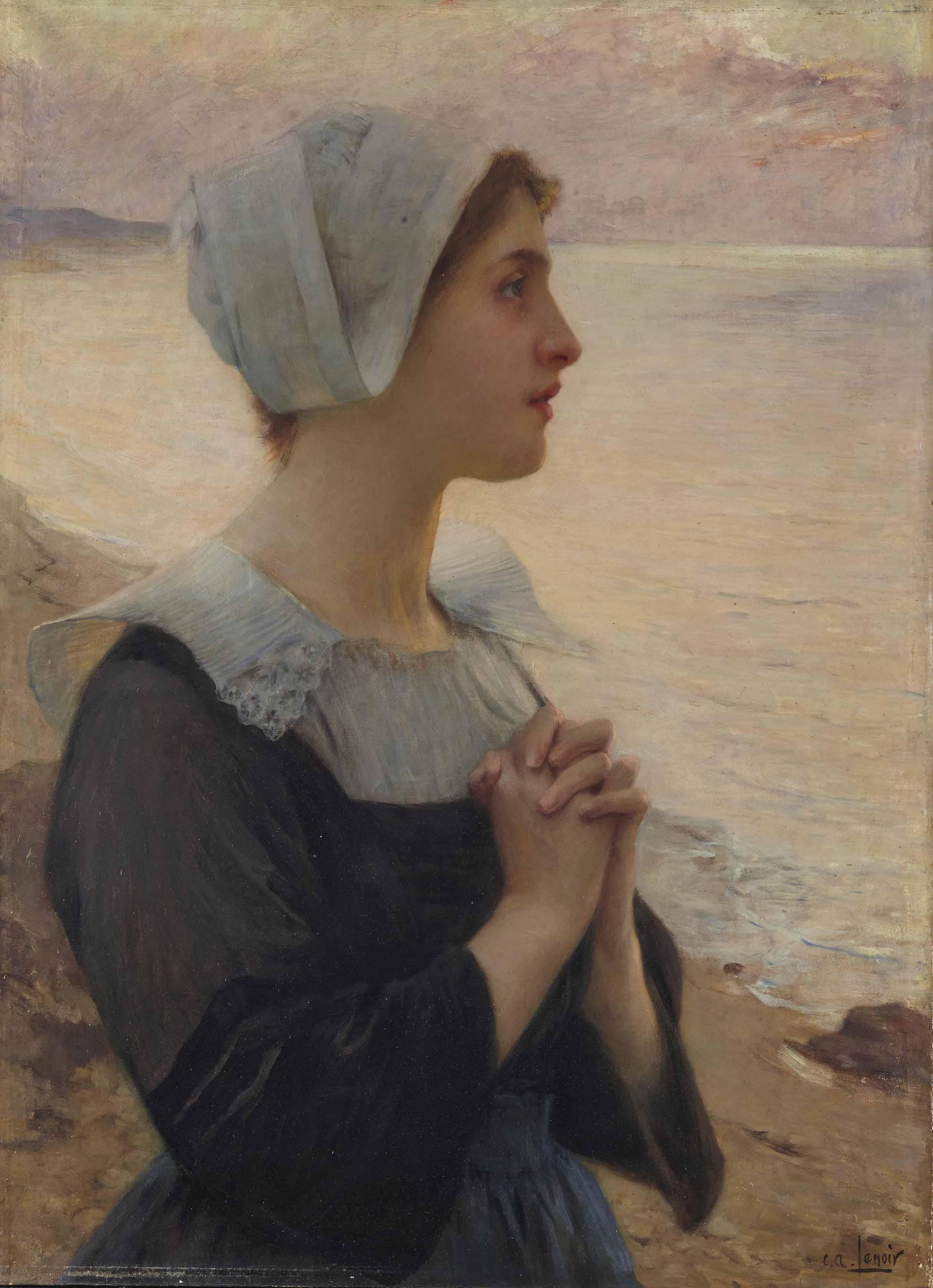 Bretonne en prière au bord de la mer