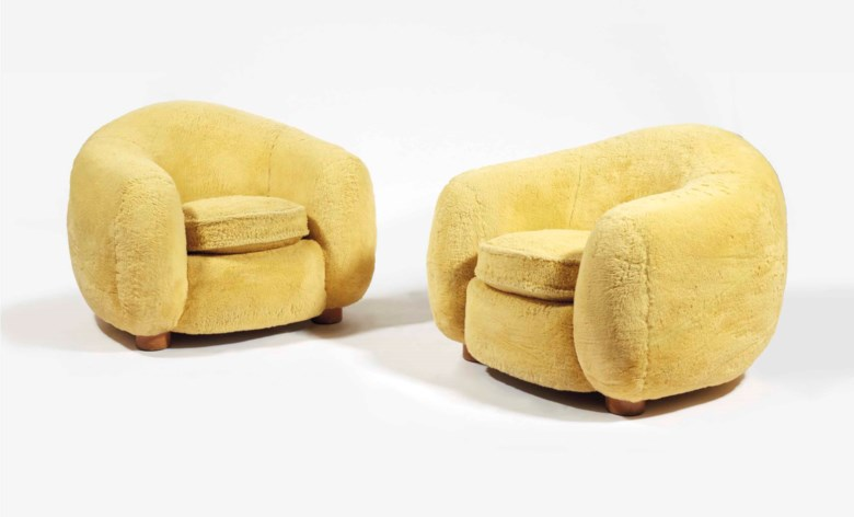 Jean Royère 1902-1981, pair of Boule ('Ours polaire') armchairs, 1947. Reupholstered oak. 68.5 x 96 x 93 cm (27 x 37¾ x 36½ in). Sold for €847,500 on 20 November 2017 at Christie's in Paris. Artwork © ADAGP, Paris and DACS, London 2020