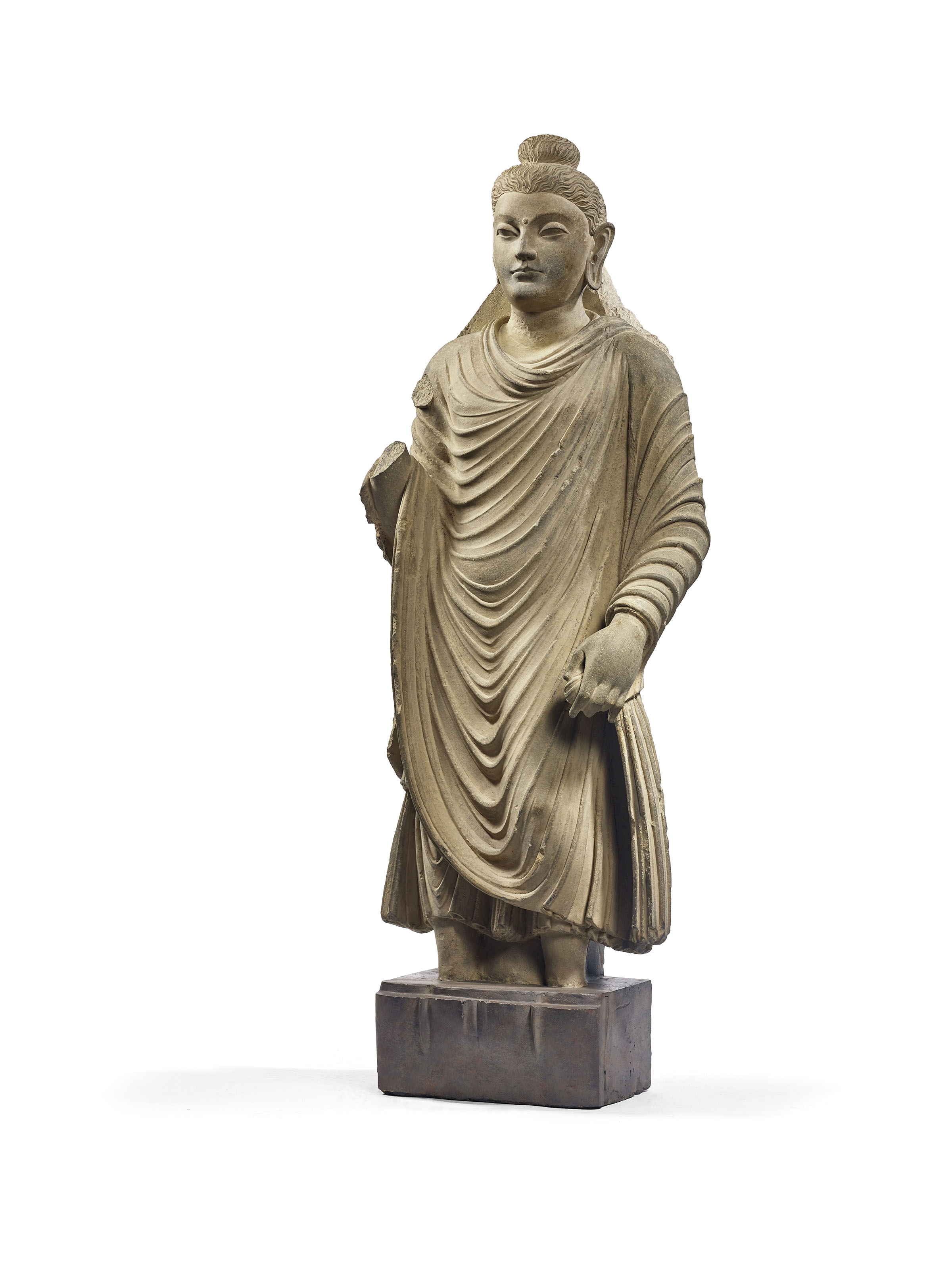 rare statue de bouddha en shakyamuni en schiste gris ancienne region du gandhara iieme iiieme. Black Bedroom Furniture Sets. Home Design Ideas