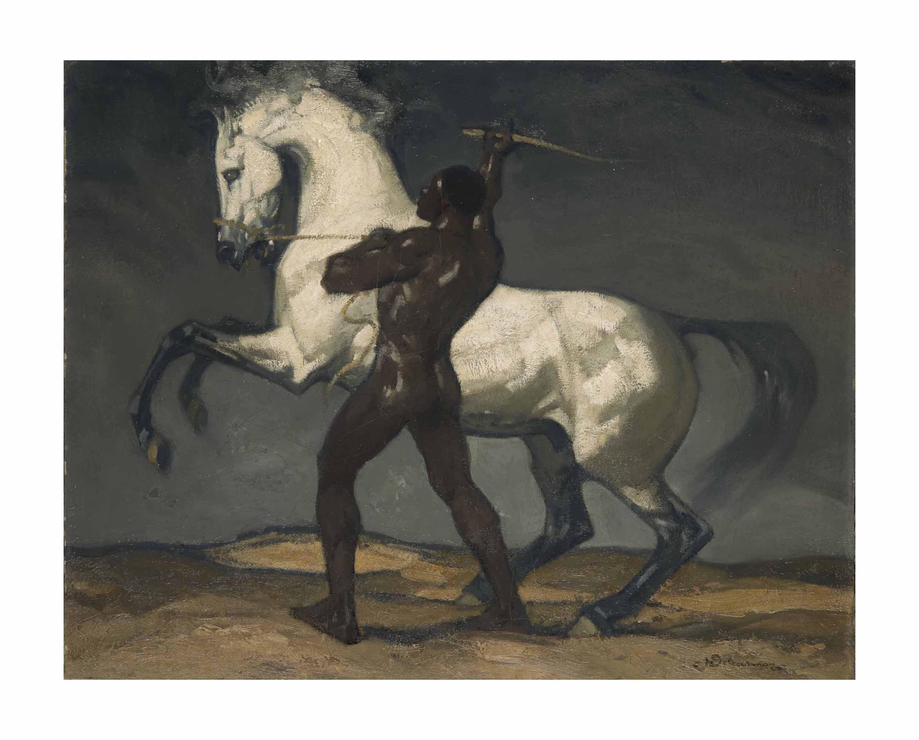 Homme retenant un cheval