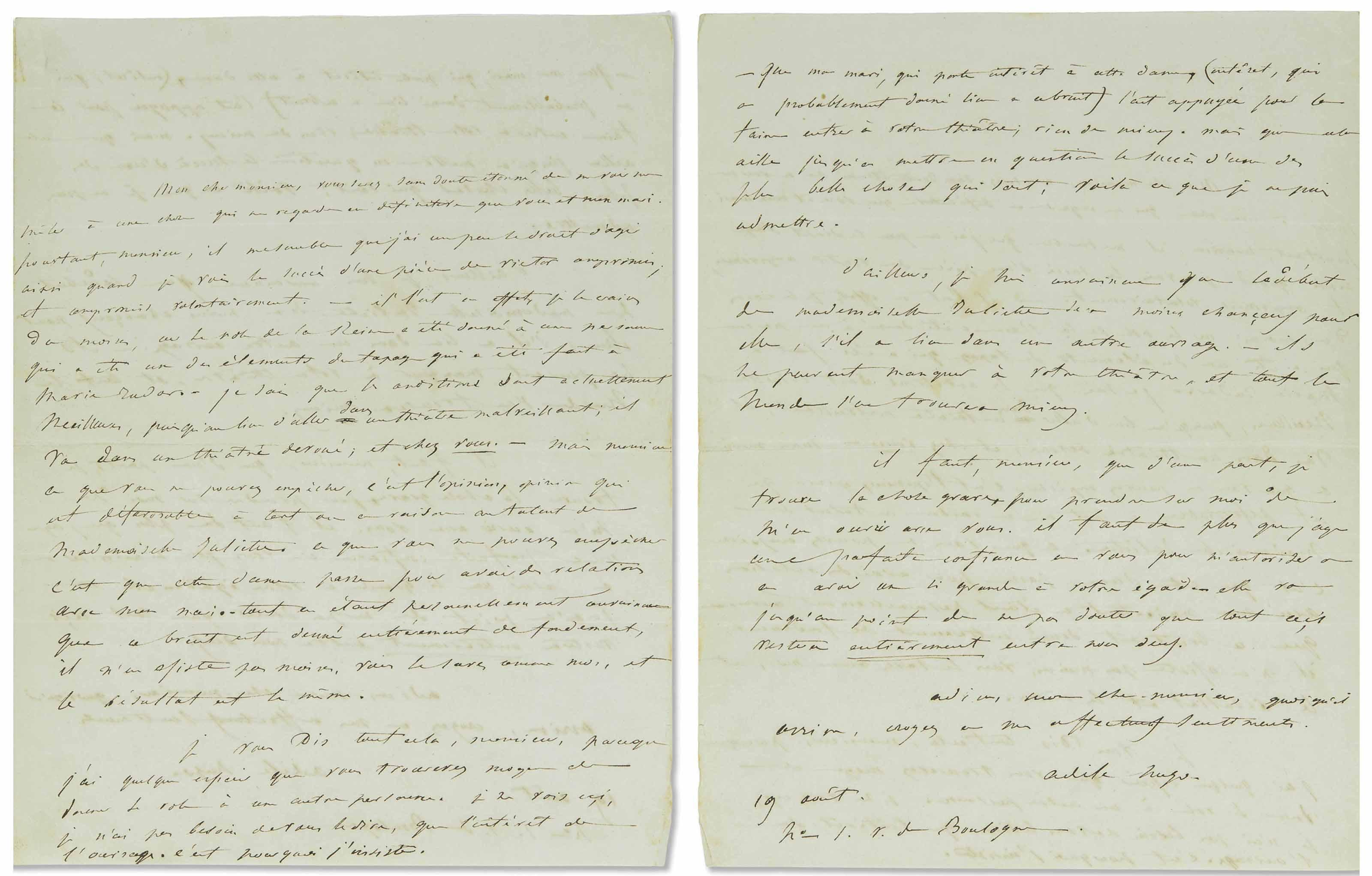 [HUGO, Victor] - HUGO, Adèle. Lettre autographe signée à Antênor Joly, directeur du Nouveau Théâtre. 19 août 1838,