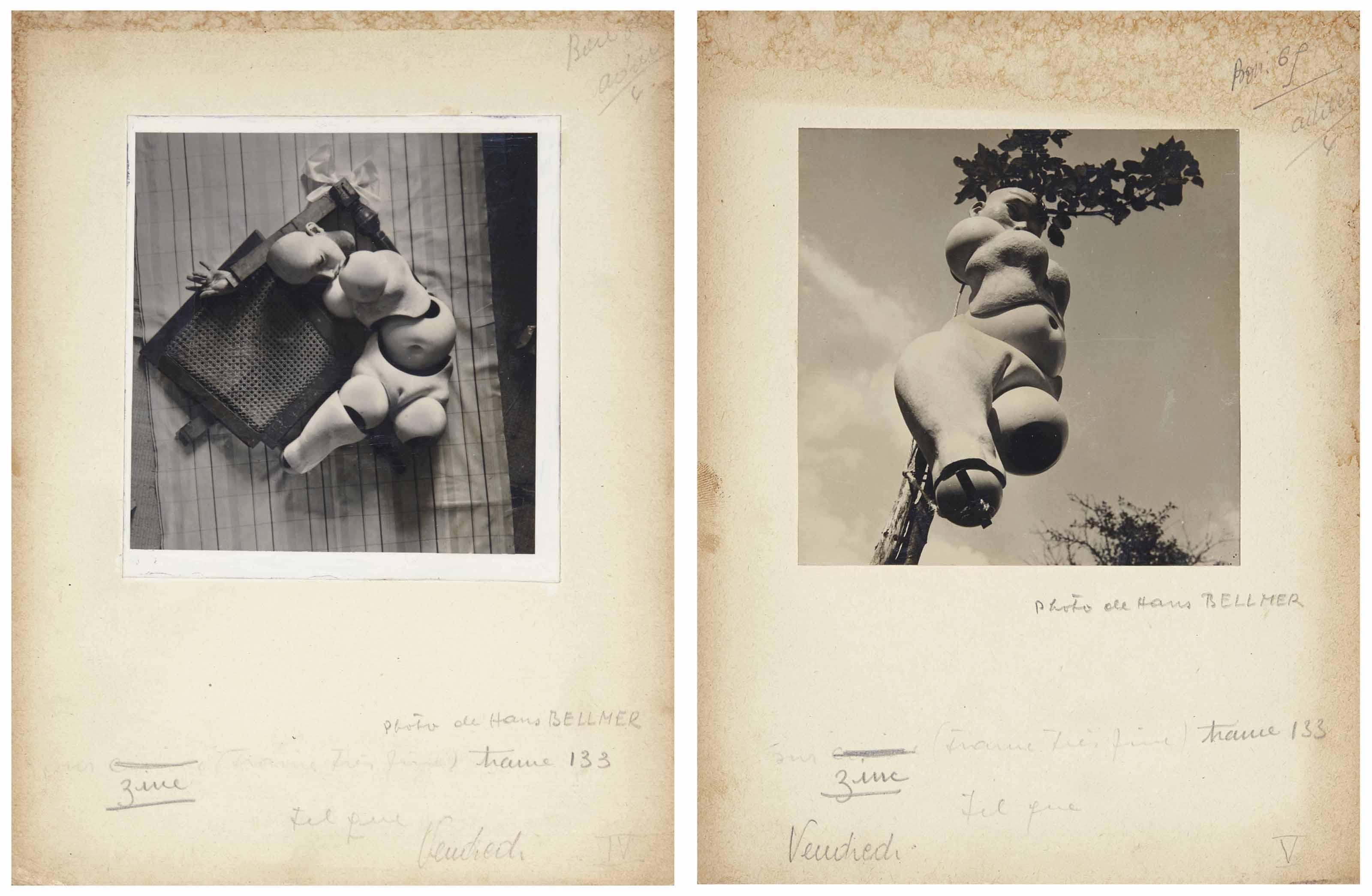BELLMER, Hans - ELUARD, Paul. Jeux vagues. La Poupée. Quatorze poèmes de Paul Eluard. Deux photos de Hans Bellmer. [Paris: Editions de la revue Messages, 1939].