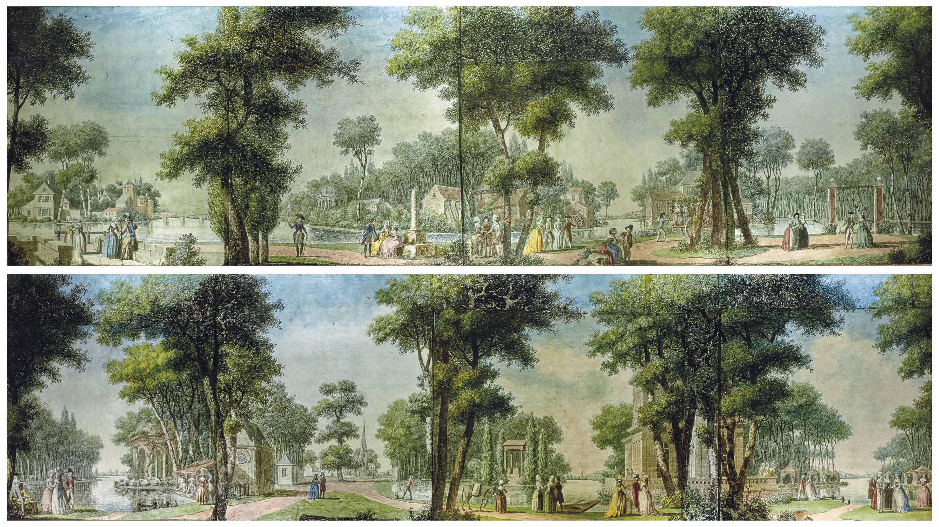 Ensemble de cinq transparents représentant des paysages des 'Campagnes de France'