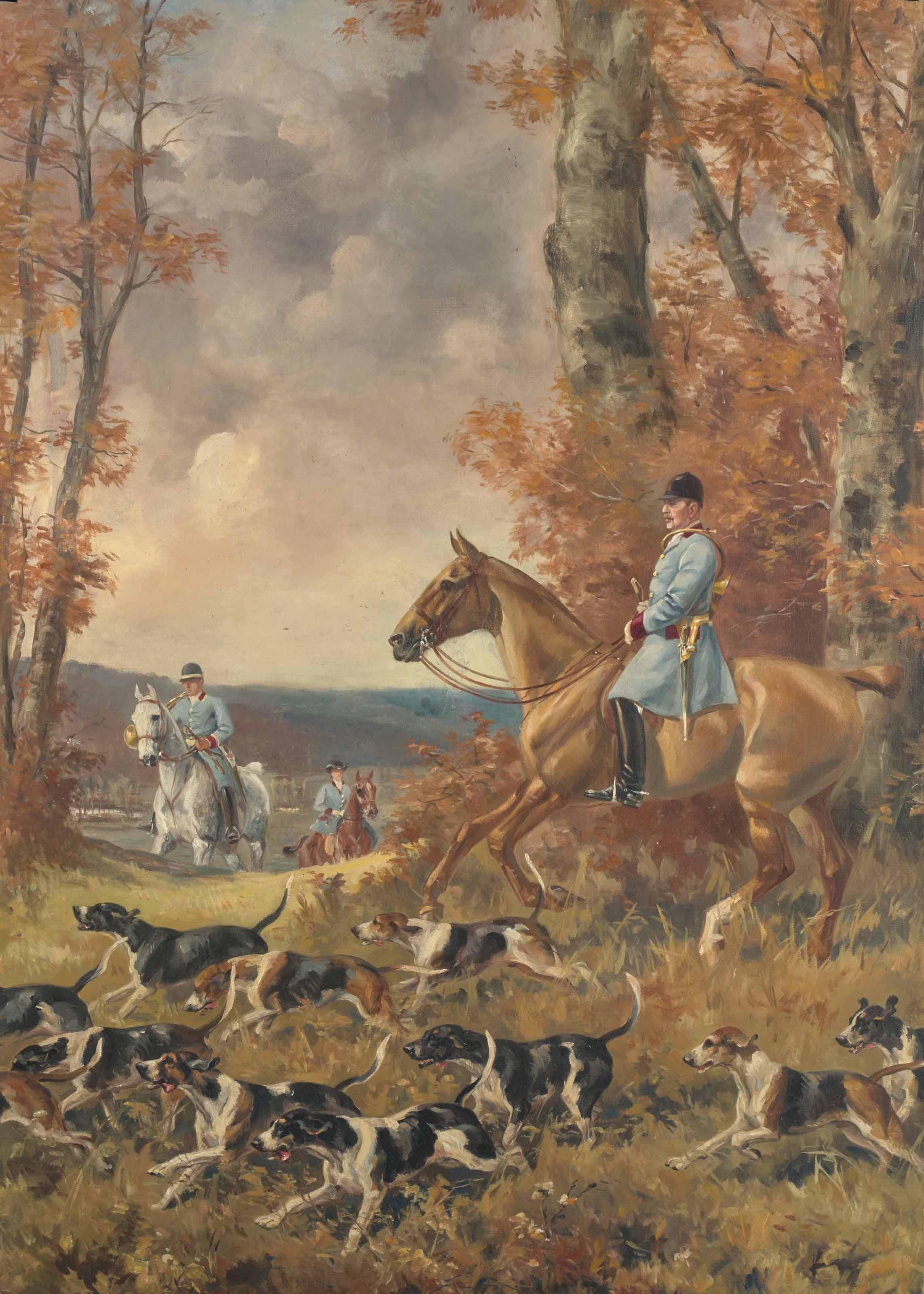 Scène de chasse à courre, avec le prince Murat au premier plan, en tenue de chasse, entouré de sa meute, avec deux cavaliers à l'arrière-plan