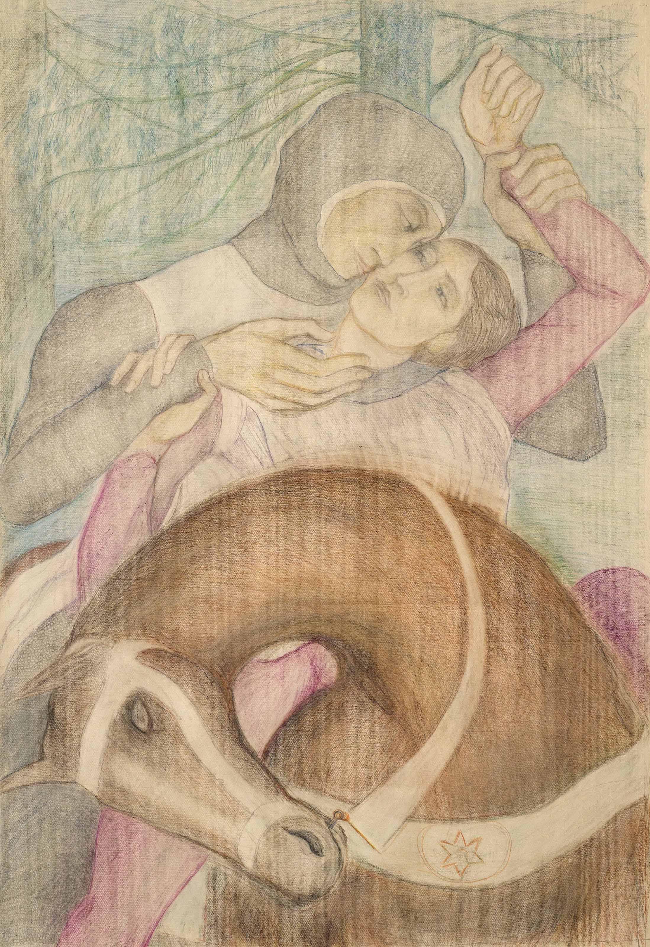 Le jeune Ogier dans les bras du Frère Lahire