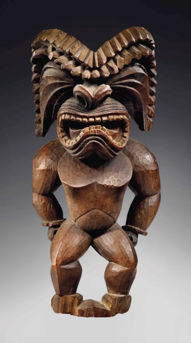Hawaiian figure, Kona style, representing the god of war, Ku Ka'ili Moku, circa 1780-1820. Height 21 in (53 cm). Sold for €6,345,000 on 21 November 2017 at Christie's in Paris