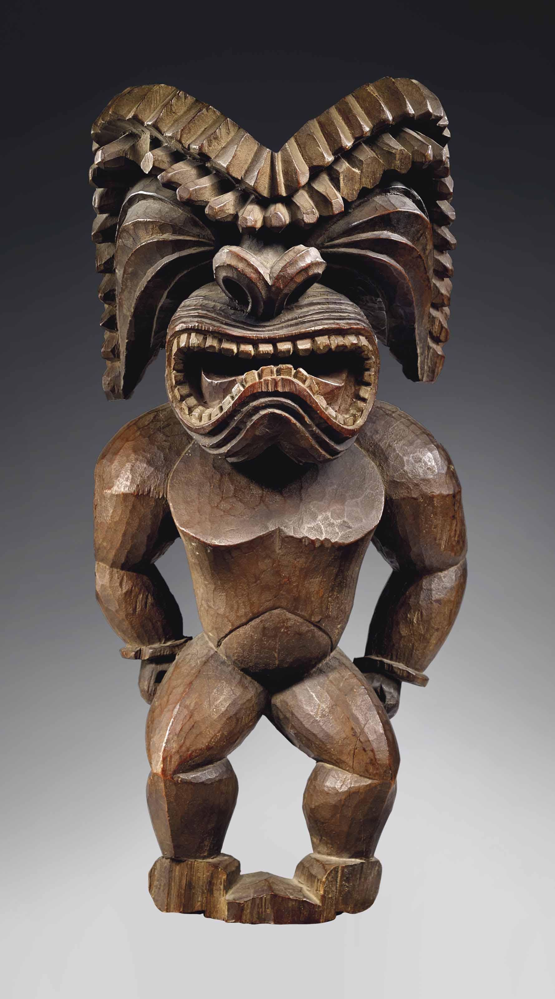 Importante statue Hawaienne de style kona, circa 1780-1820, représentant le dieu de la guerre, ku ka'ili moku Hawaiian figure, kona style, circa 1780-1820, representing the god of war, ku ka 'ili moku